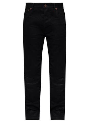 Balenciaga - Logo-embroidered Straight-leg Jeans - Womens - Black