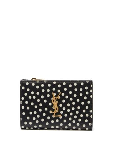 Matchesfashion.com Saint Laurent - Ysl Polka-dot Leather Wallet - Womens - Black Multi