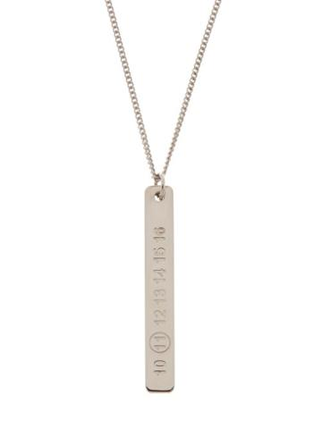 Matchesfashion.com Maison Margiela - Number-engraved Sterling-silver Necklace - Mens - Silver