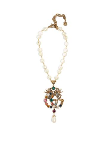 Gucci Gg Crystal And Faux-pearl Embellished Necklace