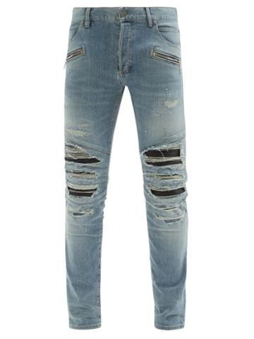 Matchesfashion.com Balmain - Faux Leather-inset Distressed Skinny Jeans - Mens - Blue
