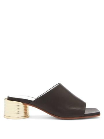 Matchesfashion.com Mm6 Maison Margiela - Tin Can-heel Leather Mules - Womens - Black