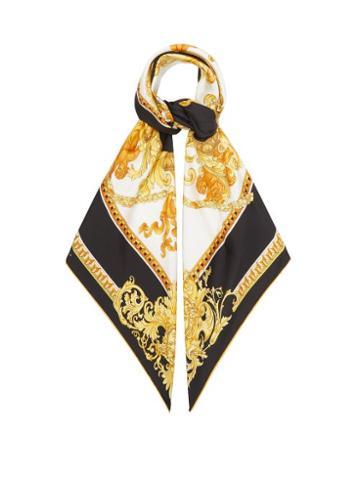 Versace - Renaissance-print Silk-twill Scarf - Womens - Gold Multi