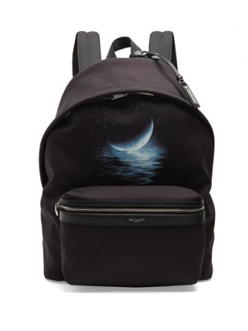 Saint Laurent City Moon-print Canvas Backpack