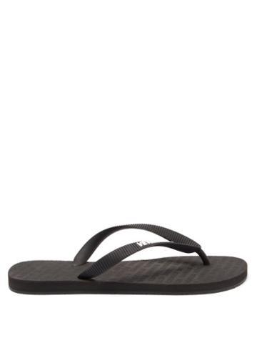 Matchesfashion.com Vetements - Logo-embossed Rubber Flip Flops - Womens - Black White