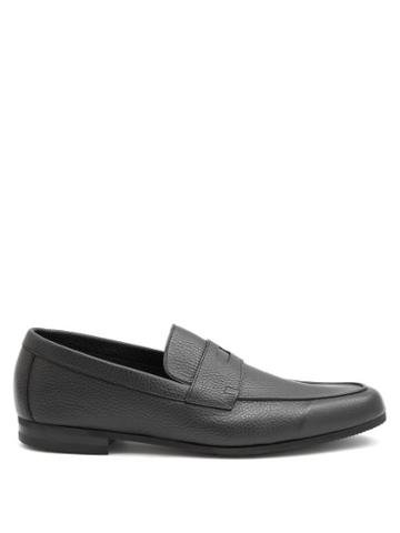 Matchesfashion.com John Lobb - Thorne Pebble-grain Leather Penny Loafers - Mens - Black