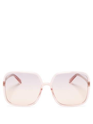 Matchesfashion.com Dior - Diorsostellaire Square Acetate Sunglasses - Womens - Light Pink
