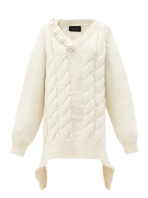 Matchesfashion.com Simone Rocha - Pearl-embellished Oversized Cable-knit Sweater - Womens - Cream