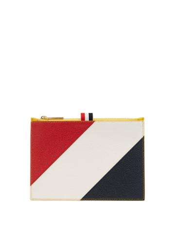 Matchesfashion.com Thom Browne - Diagonal Stripe Leather Coin Purse - Mens - Yellow