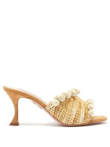 Matchesfashion.com Aquazzura - Woven 75 Pompom-trim Raffia Mules - Womens - Beige