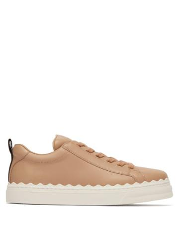 Matchesfashion.com Chlo - Lauren Scalloped Edge Leather Trainers - Womens - Nude
