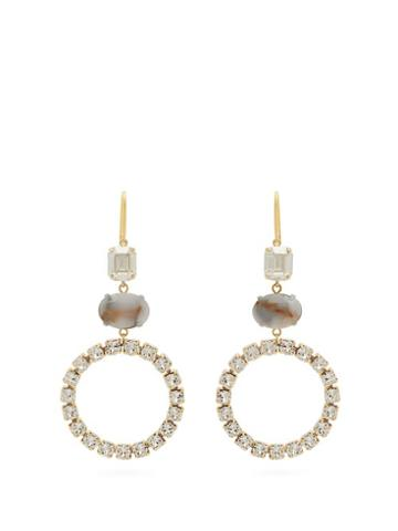 Matchesfashion.com Isabel Marant - Strass Embellished Hoop Drop Earrings - Womens - White