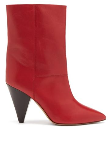 Isabel Marant - Locky Cone-heel Leather Ankle Boots - Womens - Red
