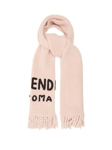 Matchesfashion.com Fendi - Logo-embroidered Wool Scarf - Womens - Light Pink