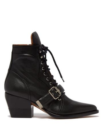 Matchesfashion.com Chlo - Rylee Grained Leather Ankle Boots - Womens - Black
