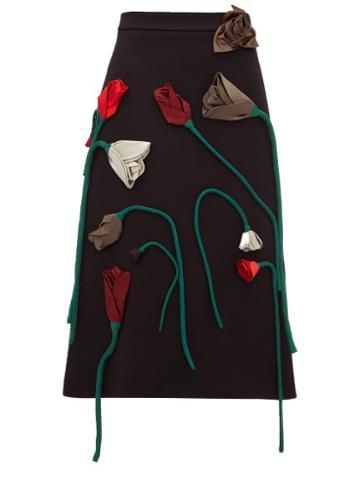 Matchesfashion.com Prada - Silk Flower Appliqu A Line Wool Skirt - Womens - Black Multi
