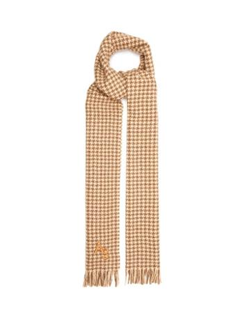 Acne Studios - Ville Logo-embroidered Wool-blend Scarf - Womens - Beige Multi