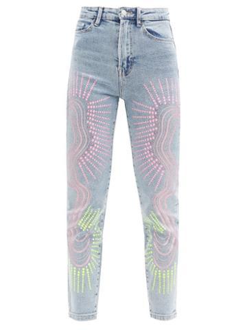 Matchesfashion.com Germanier - Upcycled Swarovski-crystal Abstract-print Jeans - Womens - Denim Multi