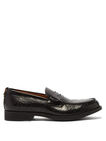 Matchesfashion.com Burberry - Emile Embossed Leather Penny Loafers - Mens - Black