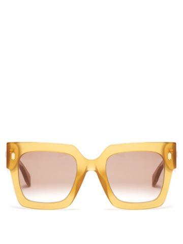 Matchesfashion.com Fendi - Fendi Roma Square Acetate Sunglasses - Womens - Yellow