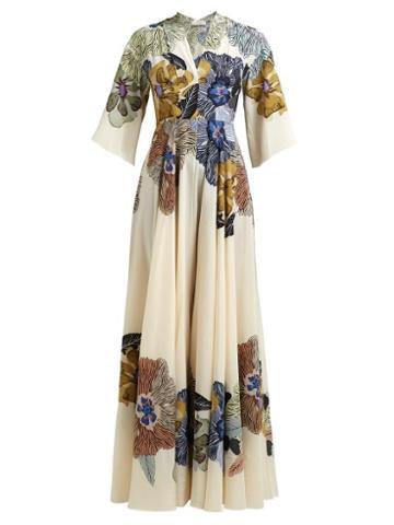 Matchesfashion.com Etro - Envision Floral Print Silk Crepe De Chine Gown - Womens - Cream Multi