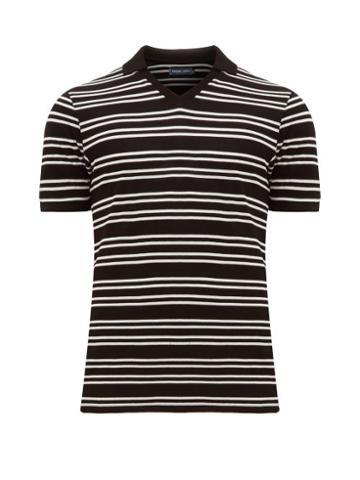 Matchesfashion.com Frescobol Carioca - V Neck Striped Cotton Piqu Polo Shirt - Mens - Black White