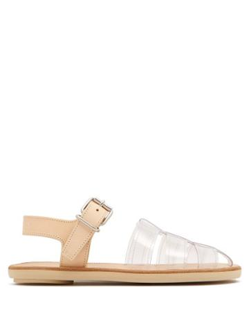 Matchesfashion.com Mm6 Maison Margiela - Perspex And Leather Cage Sandals - Womens - Tan