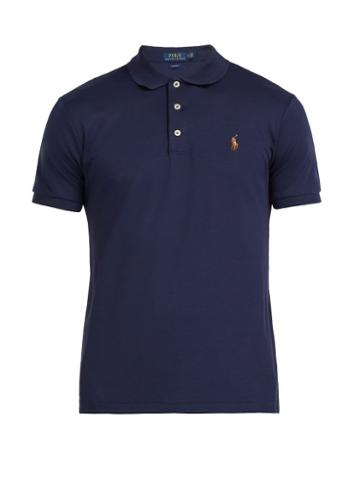 Matchesfashion.com Polo Ralph Lauren - Logo Embroidered Cotton Polo Shirt - Mens - Navy