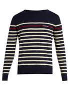 Moncler Logo-printed Striped Cotton-knit Sweater