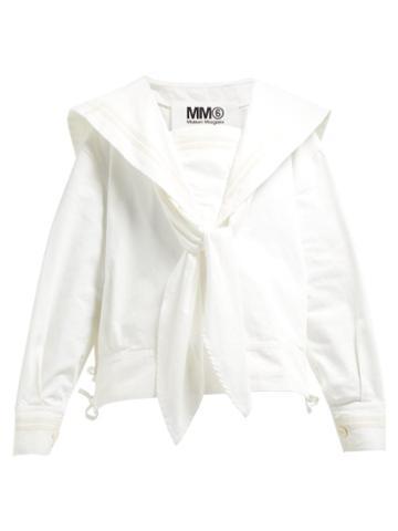 Matchesfashion.com Mm6 Maison Margiela - Sailor Collar Denim Blouse - Womens - Cream