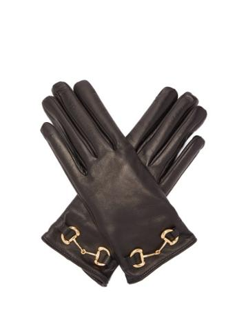 Matchesfashion.com Gucci - Horsebit Leather Gloves - Womens - Black