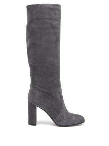 Matchesfashion.com Gianvito Rossi - Glen 85 Suede Knee-high Boots - Womens - Dark Grey