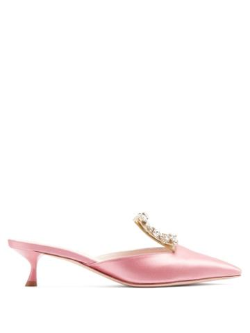 Matchesfashion.com Roger Vivier - Broche Vivier Crystal-buckle Satin Mules - Womens - Pink