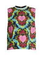 House Of Holland Sleeveless Heart-print Crepe Top