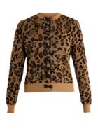 Muveil Bow-embellished Leopard Fil Coup Cardigan