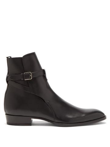 Saint Laurent - Wyatt Leather Boots - Mens - Black
