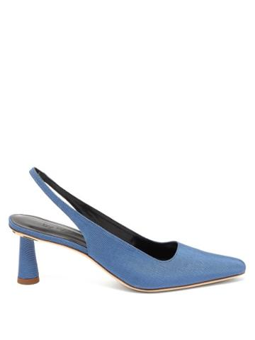 Matchesfashion.com By Far - Diana Sling Back Faille Mules - Womens - Blue