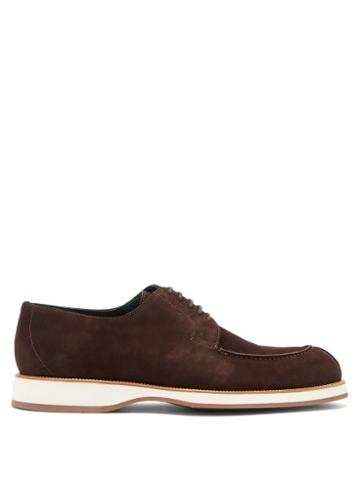 Matchesfashion.com Brioni - Stacked-midsole Suede Oxford Shoes - Mens - Dark Brown