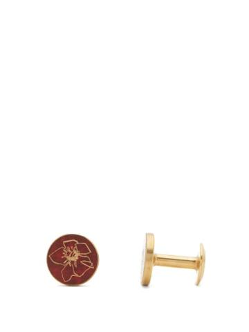 Matchesfashion.com Alice Made This - Poppy Round Patina Brass Cufflinks - Mens - Red