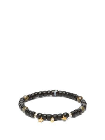 Matchesfashion.com Musa By Bobbie - Diamond, Labradorite & 18kt Gold Beaded Bracelet - Womens - Black