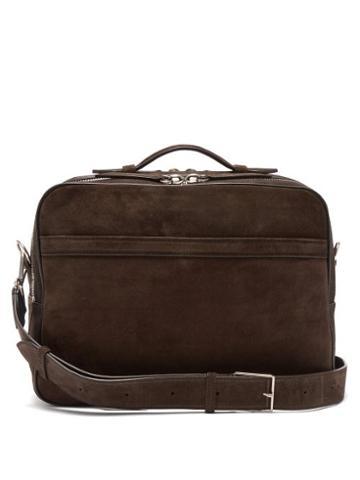 Matchesfashion.com Mtier - Wanderer Suede Messenger Bag - Mens - Brown