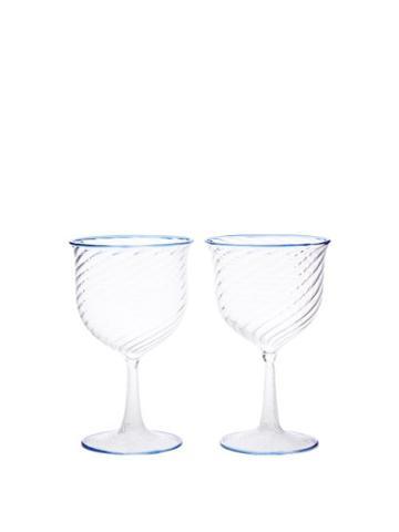 Campbell-rey - X Laguna B Set Of Two Cosima Wine Glasses - Blue Multi