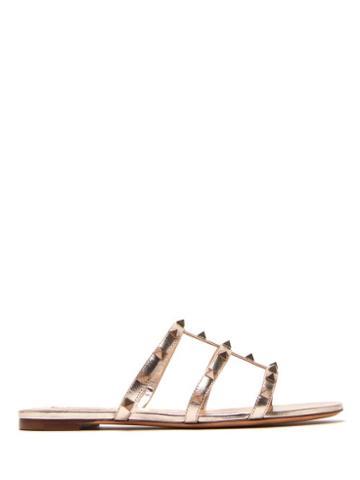 Matchesfashion.com Valentino - Rockstud Multi Strap Metallic Leather Slides - Womens - Gold