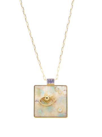 Matchesfashion.com Retrouvai - Widsom Diamond, Opal & 14kt Gold Necklace - Womens - Light Green