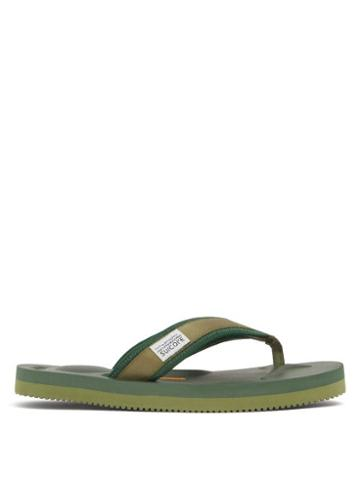 Matchesfashion.com Suicoke - Tono Logo-tab Canvas Flip-flops - Womens - Green