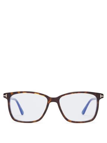 Matchesfashion.com Tom Ford Eyewear - Rectangular Frame Acetate Glasses - Mens - Tortoiseshell
