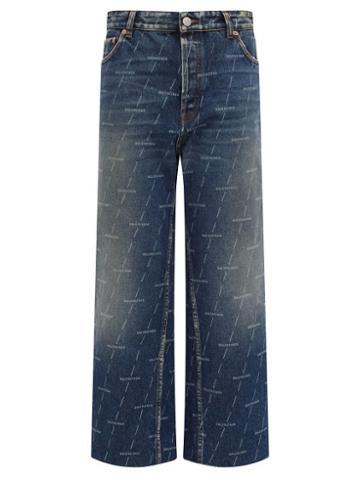 Matchesfashion.com Balenciaga - Monogram-logo Cropped Jeans - Womens - Denim