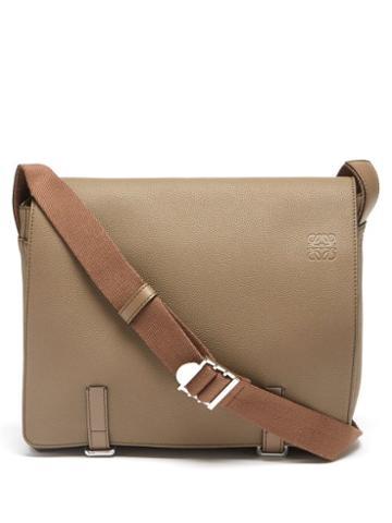 Loewe - Military Leather Messenger Bag - Mens - Dark Beige