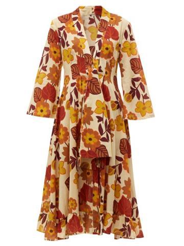 Matchesfashion.com Dodo Bar Or - Charlotte Tie Front Floral Print Cotton Midi Dress - Womens - Cream Print