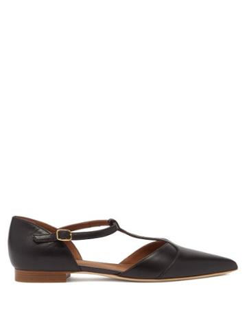 Malone Souliers - Immy Point-toe Leather Flats - Womens - Black